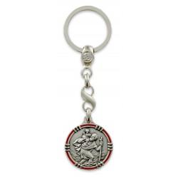 Porte clés médaille de Saint Christophe Décagone Points dorés 1020-07-05. Fabrication Française PC10200705