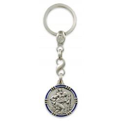 Porte clés médaille de Saint Christophe Rond Argenté ligné Bleu.Fabrication Française