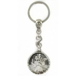Porte clés médaille de Saint Christophe Rond Diamanté Argenté. Fabrication Française PC102008