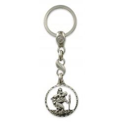 Porte clés médaille de Saint Christophe Rond coupé Diamanté Argenté. Fabrication Française PC102003