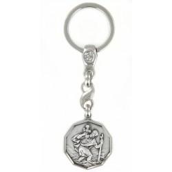 Porte clés médaille de Saint Christophe Rond coupé Diamanté Argenté. Fabrication Française