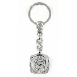 Porte clés médaille de Saint Christophe Carré et Diamanté Argenté .Fabrication Française