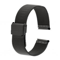 Bracelet Mesh Rowi Maille Milanaise 18mm en Acier PVD Noir HiTec Made In Germany