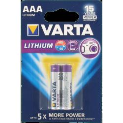 Pile AAA LR03 1.5V Lithium VARTA - Pack de 2