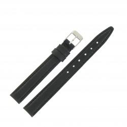 Bracelet montre 12mm Noir en Cuir de Veau véritable Artisanal