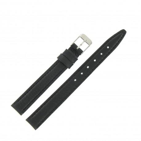 Bracelet de Montre 12mm Noir en Cuir Véritable EcoCuir Fabrication Artisanale