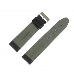 Bracelet montre 24mm Noir Long en Cuir de Veau véritable EcoCuir Fabrication Artisanale