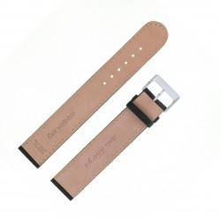 Bracelet de montre 18mm Noir XX-Long en Cuir de vachette lisse