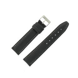 Bracelet de Montre 20mm Nevada Cuir Noir Fabrication Artisanale Européenne
