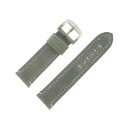 Bracelet de Montre 24mm Vintage Arizona Cuir Gris Fabrication Artisanale Européenne