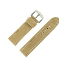 Bracelet de Montre 24mm Vintage Arizona Cuir Beige Fabrication Artisanale Européenne