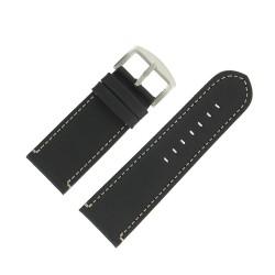 Bracelet de Montre 30mm Vintage Arizona Cuir Noir Fabrication Artisanale Européenne