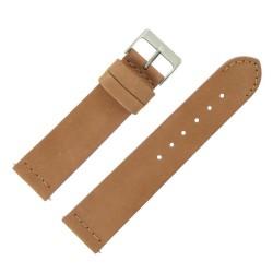Bracelet de Montre 22mm Rangers Marron Doré en Cuir Nubuck Véritable Fabrication Artisanale