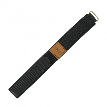 Bracelet de montre 18mm noir en Nylon fermeture Scratch