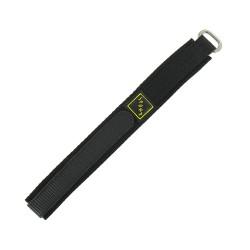 Bracelet de montre 16mm noir en Nylon fermeture Scratch