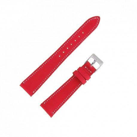 Bracecelet Montre 18mm Rouge de remplacement en Cuir Véritable Artisanal
