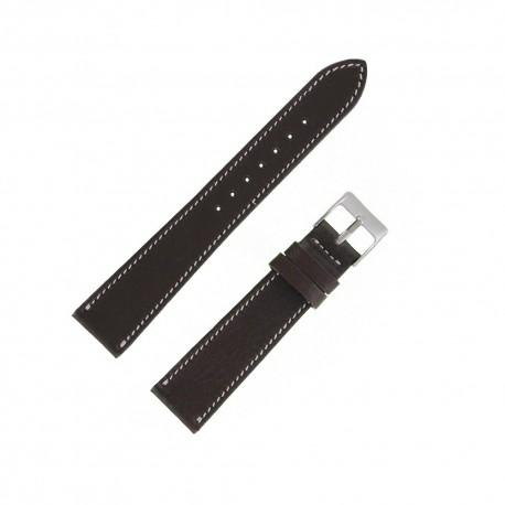 Bracecelet Montre 19mm Marron de remplacement en Cuir Véritable Artisanal