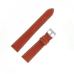 Bracecelet Montre 19mm Marron Doré de remplacement en Cuir Véritable Artisanal