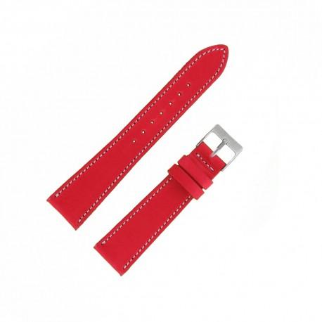 Bracecelet Montre 19mm Rouge de remplacement en Cuir Véritable Artisanal