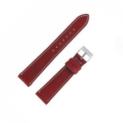 Bracecelet de Montre 19mm Cerise en Cuir Véritable Fabrication Artisanale Européenne