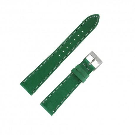 Bracecelet Montre 19mm Vert de remplacement en Cuir Véritable Artisanal