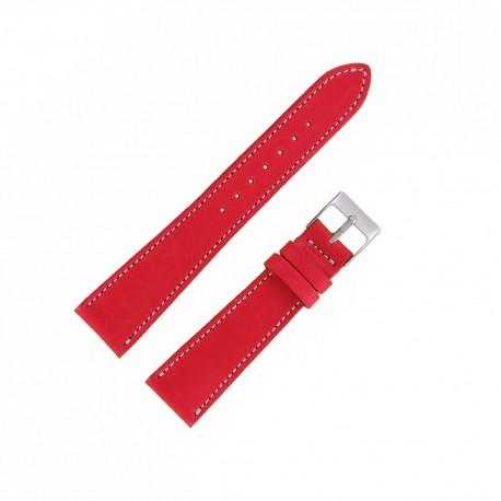 Bracecelet Montre 20mm Rouge de remplacement en Cuir Véritable Artisanal