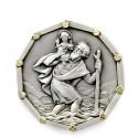 Médaille Magnétique de Saint Christophe Argentée Patron des voyageurs
