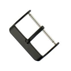 Boucle à Ardillon 24mm de Remplacement en Acier Inox Noir pour Bracelet de Montre