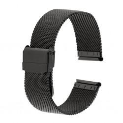 Bracelet de Montre 24mm Noir Maille Milanaise Acier Rowi-Fixoflex®