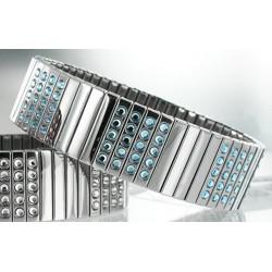 Bracelet Fantaisie en Acier Elastique avec Cristaux Bleu Swarovski