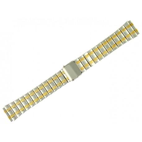Bracelet de Montre 18mm en Acier Bicolor Boucle coulissante de sureté