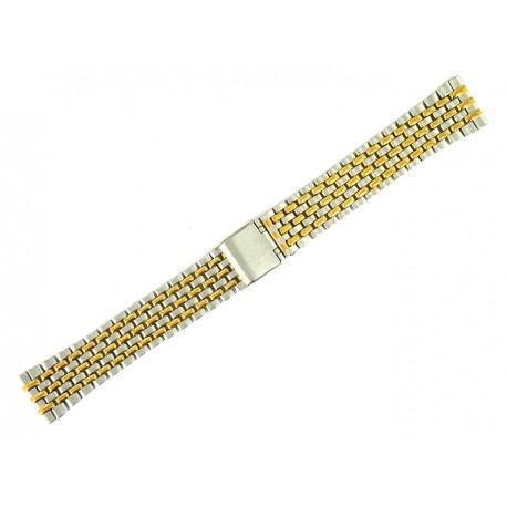 Bracelet de Montre 18mm Perles de Riz en Acier Bicolor Boucle Coulissante