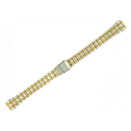 Bracelet de Montre 12mm en Acier Bicolor Boucle coulissante de sureté