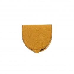 Cuvette Porte Monnaie Orange en Cuir Véritable Fabrication Artisanale Française