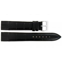 Bracelet 16mm Noir pour Montres à Anses Soudées en Cuir Gaufré Alligator