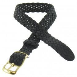 Bracelet de montre 08mm Noir en Nylon Perlon Boucle Dorée