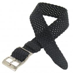 Bracelet de montre 12mm Noir en Nylon Perlon Boucle Chromée