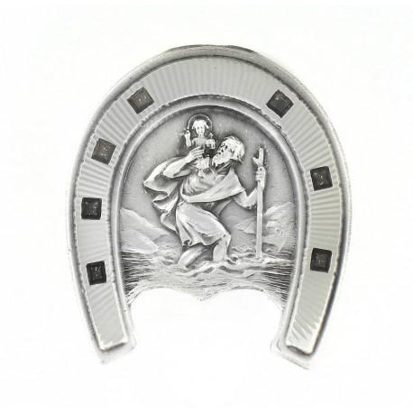 Magnet médaille de Saint Christophe Argenté Made in France