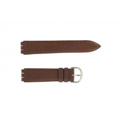 Bracelet de Montre 17mm Compatible pour Montre Swatch en Cuir Marron