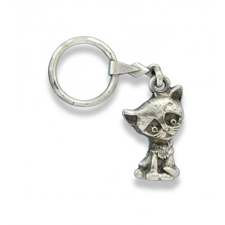 Porte clés chaton en métal. Made In France Artisanal