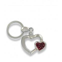 Porte clés Coeur rouge en métal. Made In France Artisanal