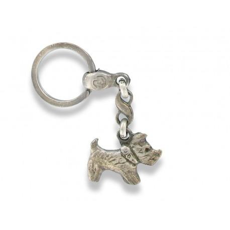 Porte clés chien Cairn Fox terrier en métal . Made In France Artisanal